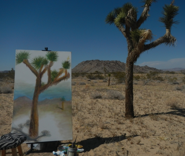 Beginning stages of Joshua Tree 3 in April 2014, the first painting of the series to be created