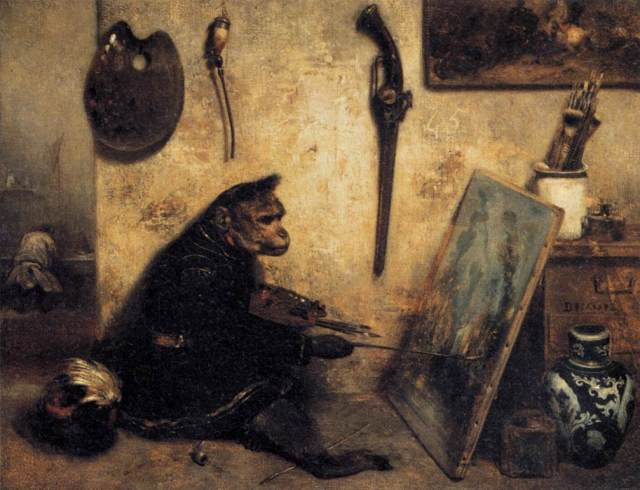 Some unknown and uncredited monkey doing the artists work for him. I just hope he's getting paid decently. The Monkey Painter / Alexandre-Gabriel Decamps / mid-1800's / oil on canvas