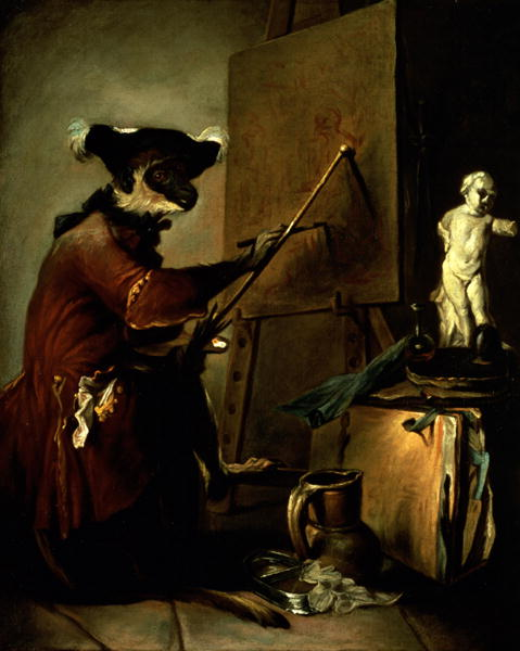 "Currently on view at the Louvre! And is the artist's name coincidental? The Monkey Painter / Jean-Baptiste-Simeon Chardin / 1740 / oil on canvas / 29"" x 24"""